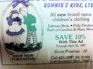 Our very first ad in the Shopper, 1987!