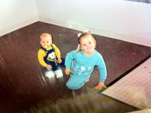 Lindsay 3, and Jesse 6 months, in my empty store, right before opening in 1987.